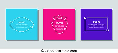 Quote frame template. Quotations text box. Vector color illustration.