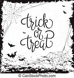 quote., halloween, trucco, manifesto, treat., o