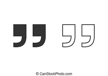 Quote line icon. Quote sign icon. Quotation mark symbol. Vector