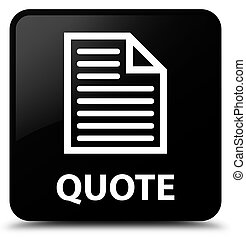 Quote (page icon) black square button