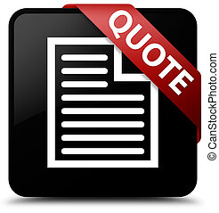 Quote (page icon) black square button red ribbon in corner