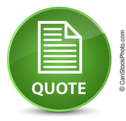 Quote (page icon) elegant soft green round button