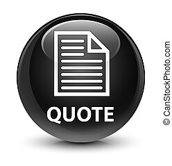 Quote (page icon) glassy black round button