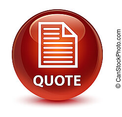 Quote (page icon) glassy brown round button
