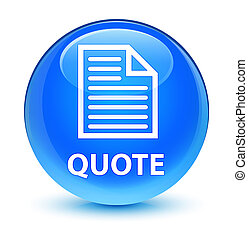 Quote (page icon) glassy cyan blue round button