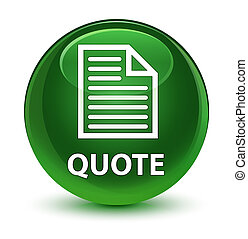 Quote (page icon) glassy soft green round button