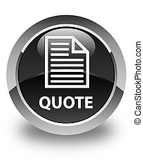Quote (page icon) glossy black round button