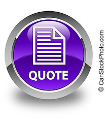 Quote (page icon) glossy purple round button
