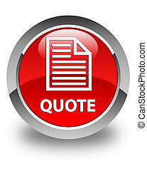 Quote (page icon) glossy red round button