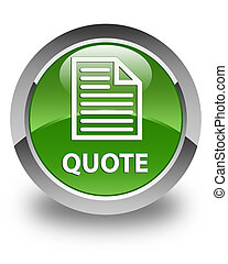 Quote (page icon) glossy soft green round button