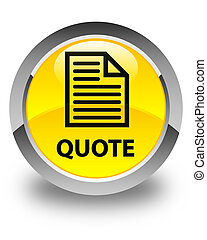 Quote (page icon) glossy yellow round button