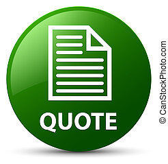 Quote (page icon) green round button