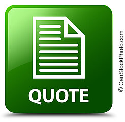 Quote (page icon) green square button