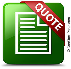 Quote (page icon) green square button red ribbon in corner