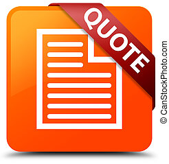 Quote (page icon) orange square button red ribbon in corner