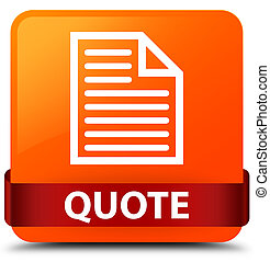 Quote (page icon) orange square button red ribbon in middle