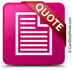 Quote (page icon) pink square button red ribbon in corner