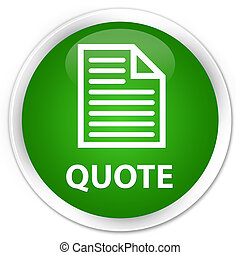 Quote (page icon) premium green round button