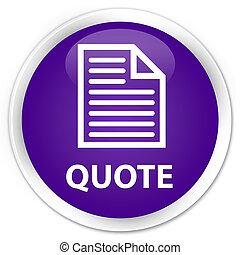 Quote (page icon) premium purple round button