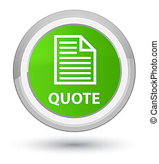 Quote (page icon) prime soft green round button
