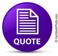 Quote (page icon) purple round button