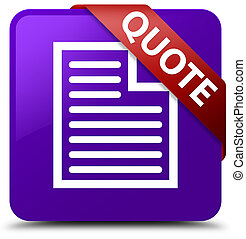Quote (page icon) purple square button red ribbon in corner