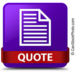 Quote (page icon) purple square button red ribbon in middle