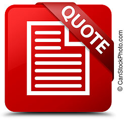 Quote (page icon) red square button red ribbon in corner