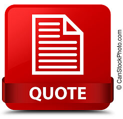 Quote (page icon) red square button red ribbon in middle