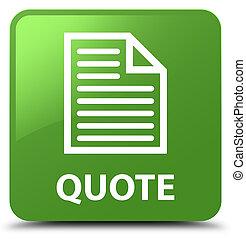 Quote (page icon) soft green square button