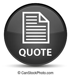 Quote (page icon) special black round button