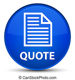 Quote (page icon) special blue round button