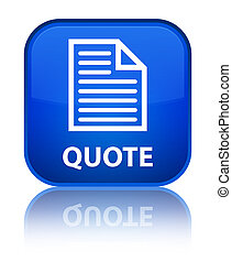 Quote (page icon) special blue square button
