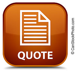 Quote (page icon) special brown square button