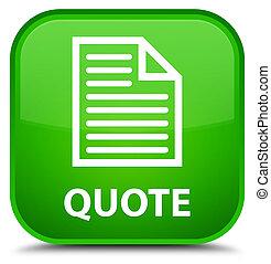 Quote (page icon) special green square button