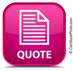 Quote (page icon) special pink square button