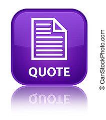 Quote (page icon) special purple square button