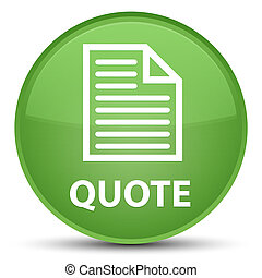 Quote (page icon) special soft green round button