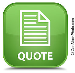 Quote (page icon) special soft green square button