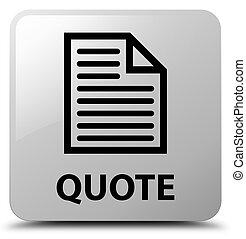 Quote (page icon) white square button