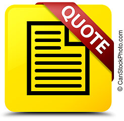 Quote (page icon) yellow square button red ribbon in corner