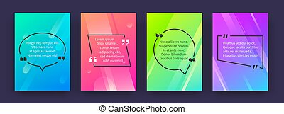 Quote posters. Banners with citation and speech bubbles in colored frames, opinion tag templates. Vector speech frames with quotes