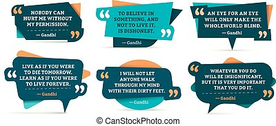 Quote remark frames. Gandhi quotation, quotes frame and mention quotations remarks templates. Quoting mark, citation callouts word tag. Vector isolated symbols set