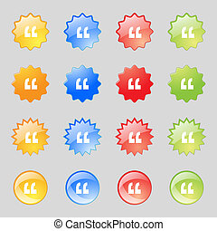 Quote sign icon. Quotation mark symbol. Double quotes at the end of words. Set colourful buttons. Vector