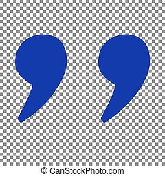 Quote sign illustration. Blue icon on transparent...
