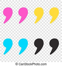 Quote sign illustration. CMYK icons on transparent ...
