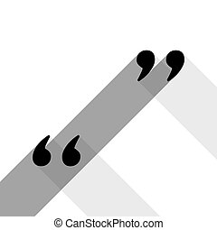 Quote sign illustration. Vector. Black icon with two flat gray shadows on white background.