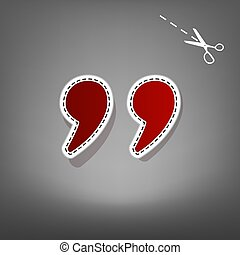 Quote sign illustration. Vector. Red icon with for applique from paper with shadow on gray background with scissors.