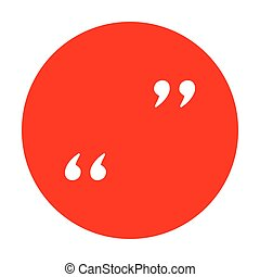 Quote sign illustration. White icon on red circle.