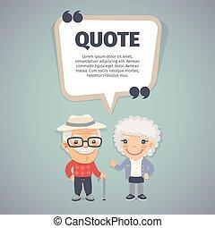 Quote Speech Banner and Elderly Couple - Quote speech banner...